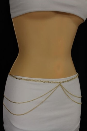 Other Women Hip Waist Gold Wide Full Waves Thin Metal Chain Fashion Belt Bling