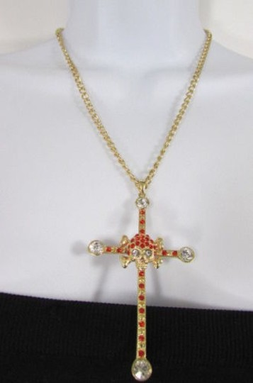 Other Women Necklace Fashion Big Cross Metal Chain Gold Silver Pewter Rhinestone