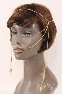 Other Women Gold Head Metal Chain Fashion Jewelry Face Long Side Tassle Leaves Strand