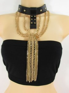 Women Necklace Fashion Black Faux Leather Choker Gold Fringes Chains Punk Rock