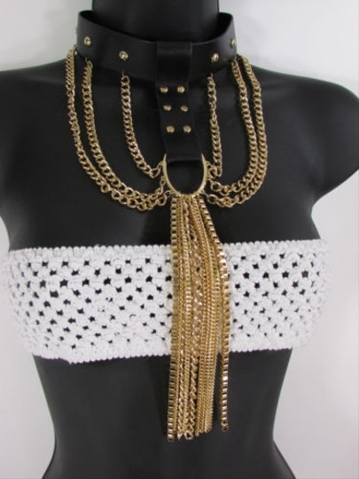 Other Women Necklace Fashion Black Faux Leather Choker Gold Fringes Chains Punk Rock