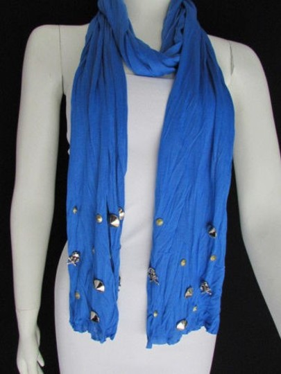 Other Women Scarf Soft Fabric Fashion Real Blue Long Necklace Silver Metal Skulls Stud