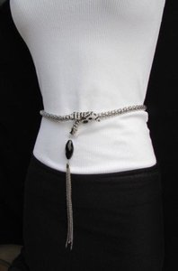 Other Women Fashion Belt Silver Skinny Metal Narrow Long Snake 24-35