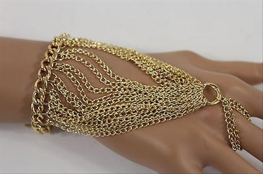 Other Women Gold Metal Hand Chain Fashion Bracelet Slave Ring Multi Fringes Links