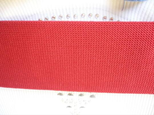 Other Women Belt Wide Red Faux Leather Elastic Hip Waist Metal Buckle