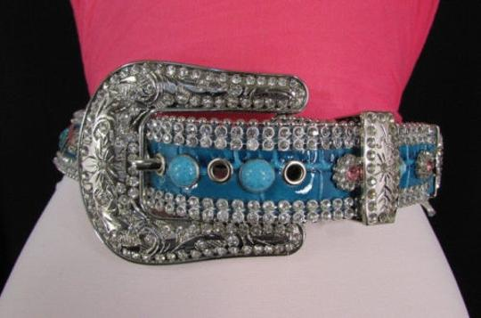 Other Women Belt Turquoise Blue Leather Fashion Metal Buckle Flowers Rhinestones