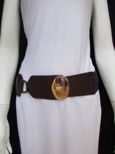Women Fashion Belt Waist Hip Dark Brown Ring Elastic Buckle 27-32