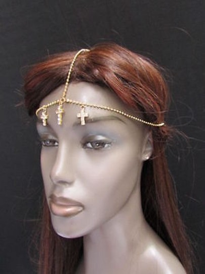 Other Women Head Chain Gold Metal Center Cross Jewerly Grecian Hair Rhinestones