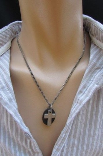Other Men Necklace Fashion 18 Rust Silver Chain Cross Pendant Back Oval Plate