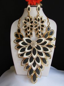 Other Women Gold Big Flower Black White Leaves Long Necklace Rhinestones Earrings