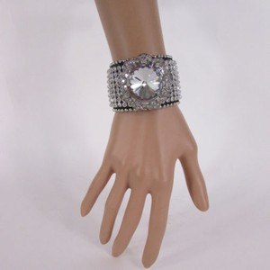 Other Women Silver Flower Fashion Black Leather Bracelet Crystals Multi Rhinestone