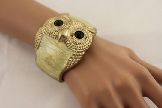 Other Women Silver Gold Owl Bracelet Black Aqua Blue Yellow Metal Cuff Fashion