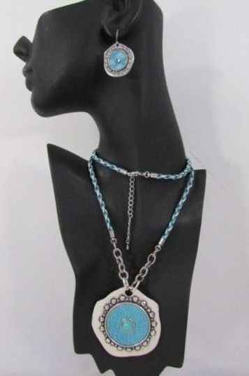 Other Women Necklace Fashion 22 Long Blue White Braided Big Blue Pendant Earrings