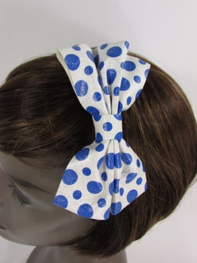 Other Women Black Band Headband Bow Blue Purple Polka Dots Hair Piece