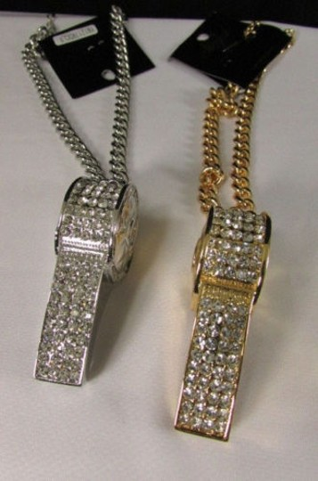 Other Women Necklace Fashion Short Chains Big Whistle Rhinestone Gold Silver