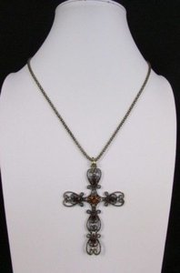 Women Necklace 24 Long Gold Metal Chain Classic Cross Pendant Rhinestones