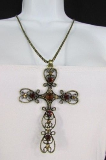 Other Women Necklace 24 Long Gold Metal Chain Classic Cross Pendant Rhinestones