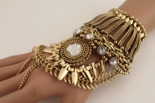 Other Women Silver Gold Metal Harness Bracelet Hand Chain Mayan Fashion Slave Ring