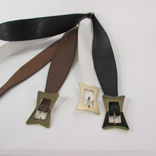 Other Women Faux Leather Western Fashion Belt Brown Black White Square Buckle