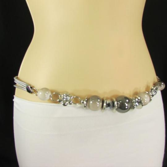 Other Women Belt Fashion Hip High Waist Silver Metal Chain Beige Beads Flower