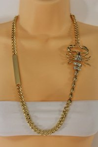 Other Women Gold Metal Chain Scorpion Pendant Fashion Necklace Jewelry Earring Set