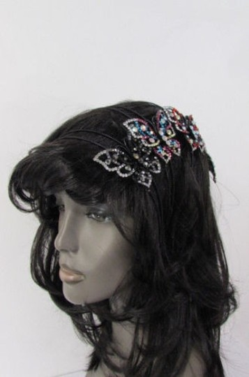 Other Women Headband Fashion Big Butterfly Silver Pewter Red Multi Rhinestones