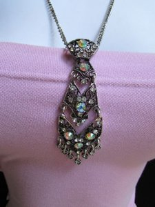 Other Women Antique Silver Necklace Tie Pendant Rhinestones Fashion Trendy Chain