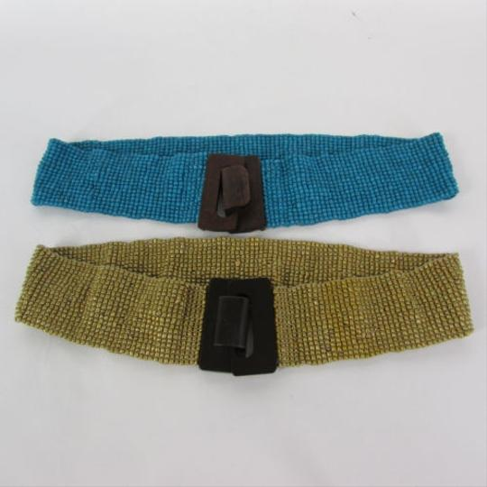 Other Women Gold Blue Elastic Beaded Fashion Belt Waist Hip 28-38