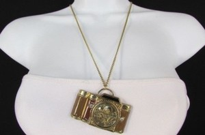 Other Women Necklace Fashion 26 Long Rusty Gold Chains Brown Old Style Camera
