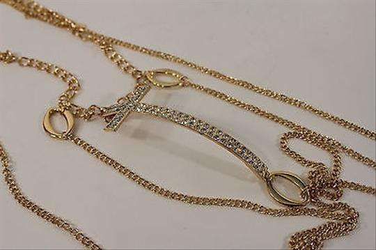 Other Women Classic Gold Metal Body Chain Big Cross Fashion Jewelry Long Necklace