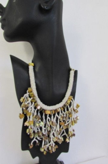 Other Hand Made Women White Beads Brown Stones Shells Statement Fashion Necklace