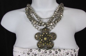 Other Women Necklace Fashion Silver Multi Metal Chain Big Flower Gold Rhinestones