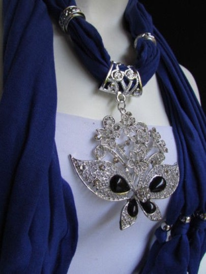 Other Women Soft Blue Fabric Fashion Scarf Necklace Silver Flowers Butterfly Pendant