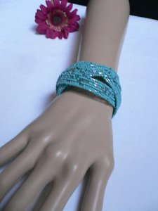 Women Baby Blue Mini Beads Metal Cuff Wide Disco Trendy Hot Fashion Bracelet