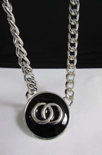 Other Women Necklace Fashion Silver Metal Chain Round Co Co Cs Black Pendant