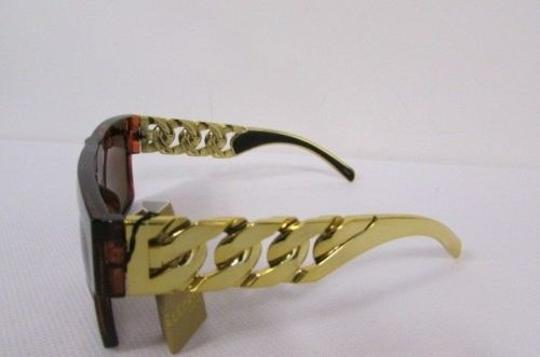 Other Women Sunglasses Fashion Men Plastic Leopard Brown Thick Chunky Gold Chains