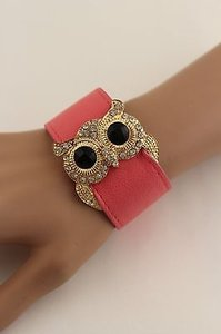 Women Gold Owl Pink Aqua Blue Belt Bracelet Faux Leather Fashion Rhinestones