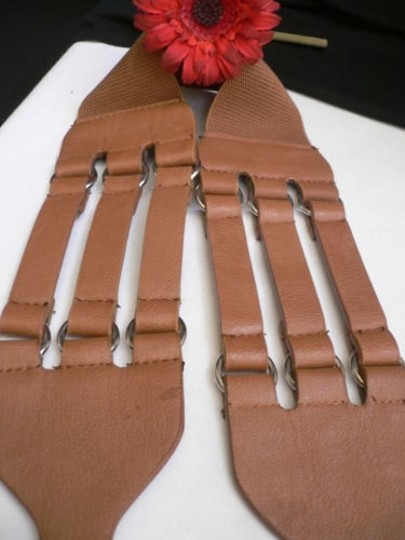 Other Women Hip Elastic Faux Leather Light Brown Fashion Belt Rib Cage 27-33