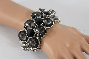 Other Women Silver Bracelet Elastic Circle Bangle Fashion Metal Black Gray Stones
