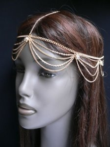 Other Women Gold Head Metal Chain Classic Fashion Hair Jewelry Circlet Silver Beads