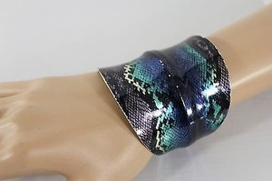 Other Women Silver Bracelet Bangle Metal Snake Blue Black Teal Print Cuff Fashion