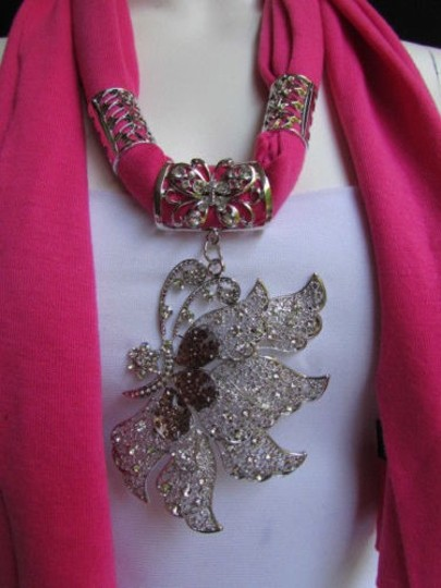 Other Women Pink Soft Fabric Fashion Scarf Long Necklace Big Silver Butterfly Pendant