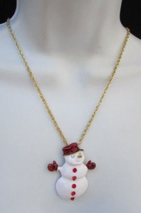 Women Classic Holydays Fashion Necklace Gold Chain White Snowman Christmas
