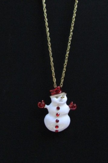 Other Women Classic Holydays Fashion Necklace Gold Chain White Snowman Christmas