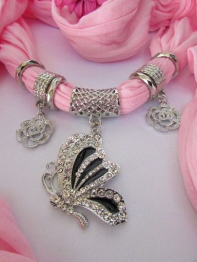 Other Women Fabric Fashion Light Pink Scarf Necklace Silver Flying Butterfly Pendant