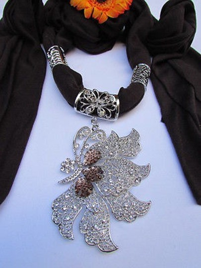 Other Women Brown Soft Fabric Fashion Scarf Long Necklace Big Silver Butterfly Pendant