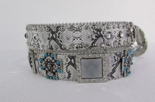 Other Women Belt Snake Print Leather Fashion Metal Buckles Turquoise Cross Mirrors