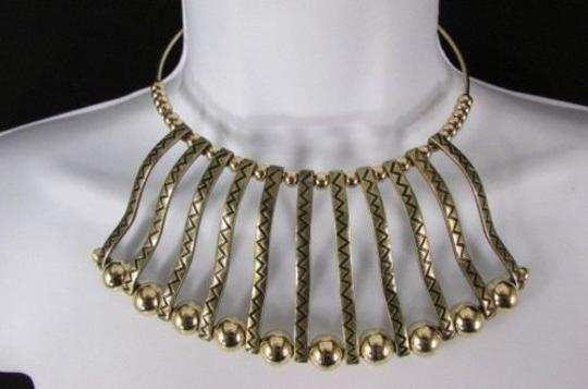 Other Women 8 Short Antique Gold Metal Choker Necklace Wave Pendant Asian Style