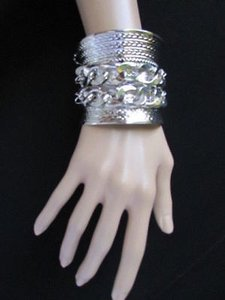 Other Women Silver Big Bracelet Metal Fashion Cuff Bangle Thick Chains Rhinestones