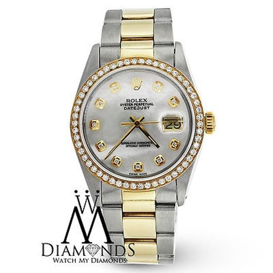 Rolex Rolex 16233 Datejust Two Tone 36mm Diamond Bezel Mother Of Pearl Diamond Dial